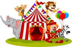 Beeldverhaal gelukkige dierlijke circus en clown Stock Foto's