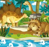 Beeldverhaal gelukkige dinosaurussen - diplodocusstegosaurus triceratops Stock Fotografie