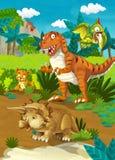 Beeldverhaal gelukkige dinosaurussen - tyrannosaurus Royalty-vrije Stock Afbeeldingen