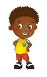 Beeldverhaal gelukkige en grappige jongen status kijkend en geïsoleerd glimlachend - royalty-vrije illustratie