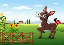 Beeldverhaal gelukkige ezel met landbouwbedrijfachtergrond vector illustratie