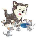 Beeldverhaal gelukkige kat status glimlachend en denkend rond de muizen - kom voor geïsoleerde melk - Stock Afbeelding