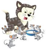 Beeldverhaal gelukkige kat status glimlachend en denkend rond de muizen - melk in de geïsoleerde kom - Royalty-vrije Stock Afbeelding
