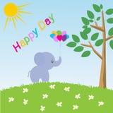 beeldverhaal gelukkige olifant Stock Illustratie