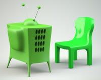 Beeldverhaal-gestileerde TV met stoel Stock Afbeelding