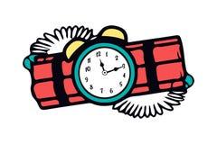 Beeldverhaal gevaarlijk aangestoken rood dynamiet met oude kloktijdopnemer Het symbool van de vernietiging en de verschrikking Ve stock illustratie
