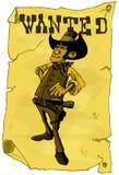Beeldverhaal gewilde affiche van een cowboy Stock Foto
