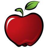 Beeldverhaal glanzende heerlijke rode vector verse appel met groen blad Stock Afbeeldingen