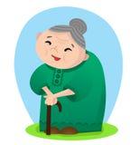 Beeldverhaal glimlachende grootmoeder stock illustratie