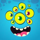 Beeldverhaal grappig en koel gezicht met vele ogen Vector blauwe het monsteravatar van Halloween met brede glimlach vector illustratie