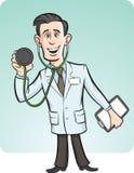 Beeldverhaal grappige arts met stethoscoop Stock Afbeeldingen
