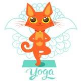 Beeldverhaal Grappige Cat Icons Doing Yoga Position De yogakat stelt Royalty-vrije Stock Foto