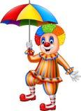 Beeldverhaal grappige clown die een paraplu houden vector illustratie