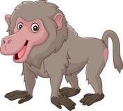 Beeldverhaal grappige die baviaan op witte bacjground wordt geïsoleerd vector illustratie