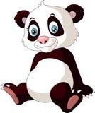 Beeldverhaal grappige die panda op witte achtergrond wordt geïsoleerd royalty-vrije illustratie
