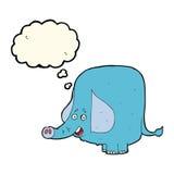 beeldverhaal grappige olifant met gedachte bel Stock Foto