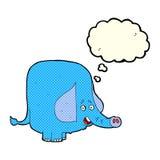 beeldverhaal grappige olifant met gedachte bel Royalty-vrije Stock Foto
