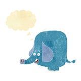 beeldverhaal grappige olifant met gedachte bel Royalty-vrije Stock Afbeeldingen