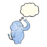 beeldverhaal grappige olifant met gedachte bel Royalty-vrije Stock Foto's