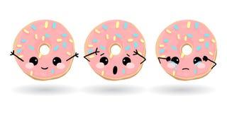 Beeldverhaal grappige roze doughnut Hand getrokken reeks van emoji Het vectorvoedsel van de emoticonillustratie Stock Fotografie