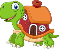 Beeldverhaal grappige schildpad met shell huis Stock Foto's