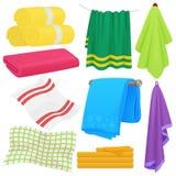 Beeldverhaal grappige vectorhanddoeken Doek katoenen handdoek voor bad Stoffenhanddoek voor hygiëne stock illustratie