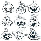 Beeldverhaal griezelige Jack O ` Lantaarnpompoenen geplaatst geschetst De vectorillustratie van Halloween Stock Fotografie