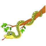 Beeldverhaal groene slang op tak royalty-vrije illustratie