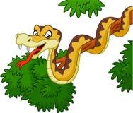Beeldverhaal groene slang op tak vector illustratie