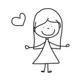 Beeldverhaal hand-drawn gelukkig jong geitje Stock Afbeelding