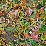 Beeldverhaal hand-drawn krabbels van Japans keuken naadloos patroon vector illustratie