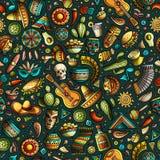 Beeldverhaal hand-drawn Latijns-Amerikaans, Mexicaans naadloos patroon Stock Foto's
