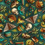 Beeldverhaal hand-drawn Latijns-Amerikaans, Mexicaans naadloos patroon Stock Afbeeldingen