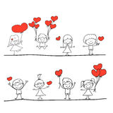 Beeldverhaal hand-drawn liefde Royalty-vrije Stock Afbeeldingen