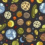 Beeldverhaal hand-drawn ruimte, planeten naadloos patroon vector illustratie