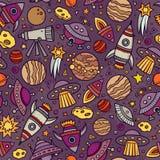 Beeldverhaal hand-drawn ruimte, planeten naadloos patroon stock illustratie
