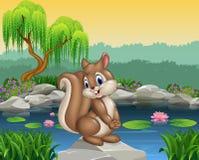 Beeldverhaal het gelukkige eekhoorn stellen Royalty-vrije Stock Foto