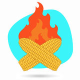 Beeldverhaal het geroosterde graan Vectorillustratie van barbecuegraan op een achtergrond van brand Stock Afbeelding