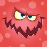 Beeldverhaal het gillen monstergezicht Vector rode boze het monsteravatar van Halloween Stock Afbeelding