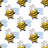 Beeldverhaal het glimlachen bijen naadloos patroon Stock Afbeelding