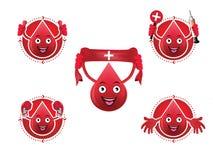 Beeldverhaal het glimlachen geplaatste bloedpictogrammen Stock Foto