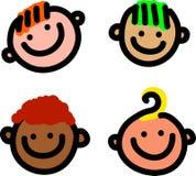 Beeldverhaal het Glimlachen Gezichten Stock Afbeelding