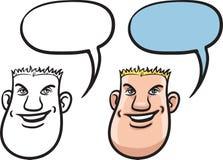 Beeldverhaal het glimlachen mensengezicht Stock Afbeeldingen