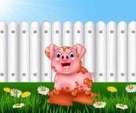 Beeldverhaal het grappige varken spelen in de modder Stock Foto's