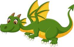 Beeldverhaal het groene draak vliegen Stock Fotografie