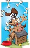 Beeldverhaal het jongleren met hond vector illustratie