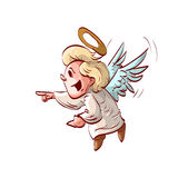 Beeldverhaal het leuke engel lachen Royalty-vrije Stock Afbeelding