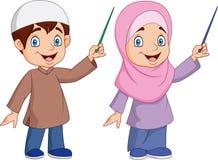 Beeldverhaal het Moslimjong geitje voorstellen stock illustratie