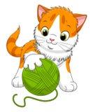 Beeldverhaal het spelen katje royalty-vrije illustratie