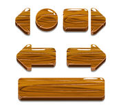 Beeldverhaal houten knopen voor spel of Webontwerp stock afbeelding